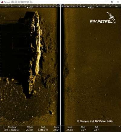 經分析高清聲納影像,研究團隊證實為日軍第1航空艦隊旗艦「赤城號」。(翻攝自RV Petrel臉書)