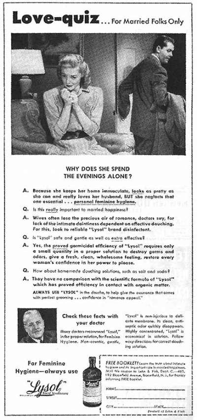 來蘇爾早年廣告,上方標題寫「愛的測驗」,下方以問答形式推廣陰道灌洗對婚姻美滿的重要,甚至請來醫生背書。(Bill Bradford@flickr)