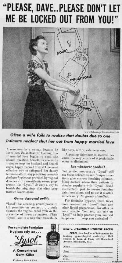 來蘇爾早年廣告,上方標題寫「拜託戴夫,拜託不要把拒我於千里之外!」,暗示陰道灌洗對婚姻美滿的重要。(Erin Stevenson O'Connor@flickr)