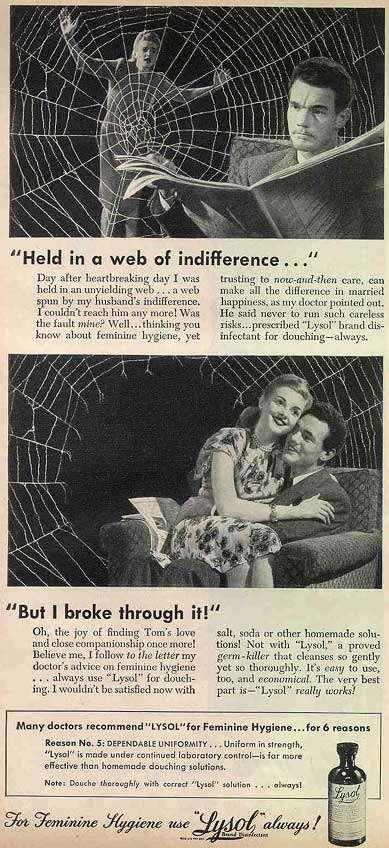 來蘇爾早年廣告,以突破蜘蛛網的意象暗示灌洗陰道對婚姻美滿的重要性。(Bill Bradford@flickr)