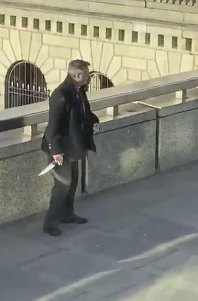 2019年11月29日,倫敦橋發生恐怖攻擊案,28歲兇嫌翰恩持刀攻擊路人,隨後遭當場擊斃。(AP)