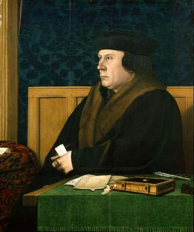 英國國王亨利八世的親信大臣克倫威爾(Thomas Cromwell),與安妮‧博林不合,疑似誣陷她外遇。(維基百科公有領域)