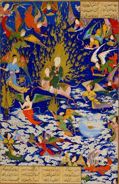20200103-穆罕默德夜行登霄圖,由波斯詩人尼札米(Nizami Ganjavi)繪於1539-1543年。(作者提供)