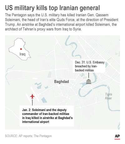美軍空襲伊朗特種部隊「聖城軍」司令蘇萊曼尼搭乘座機,地點距離美國駐伊拉克大使館不遠。(AP)