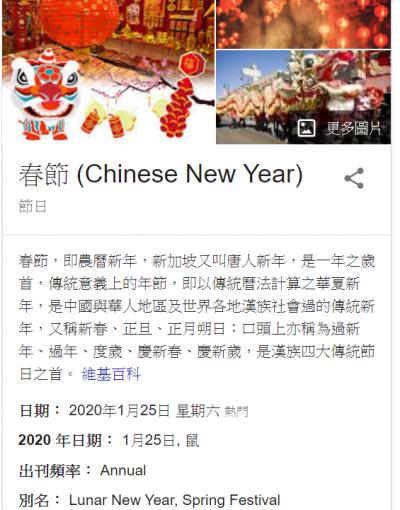 Chinese New Year是最常用的春節英文翻譯。(擷取自Google搜尋引擎)