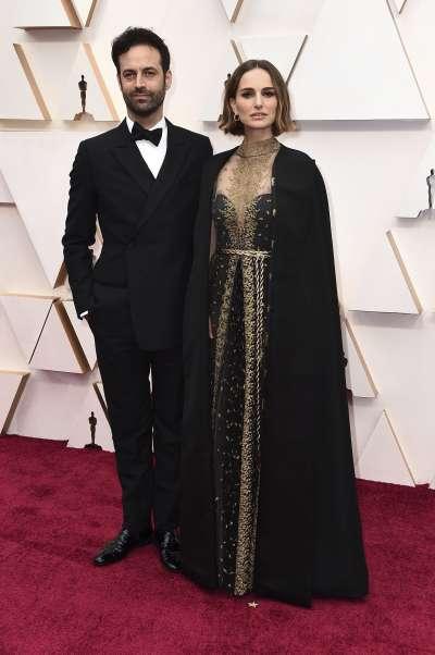第92屆奧斯卡紅毯,女星納塔莉波曼與丈夫一起與會(AP)