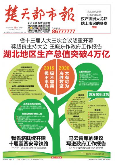 1月13日的楚天都市報頭版,讓讀者一圖讀懂省「兩會」。(作者錢鋼提供)