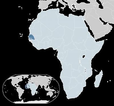 塞內加爾位置圖。(取自維基百科)