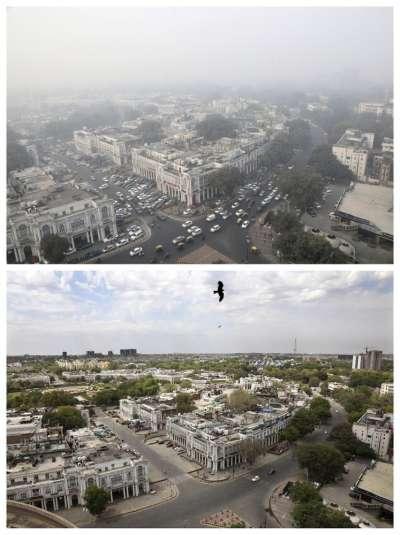 拜封鎖令下良好的空氣品質所賜,印度新德里的城市天際線景象與往常大相徑庭(AP)