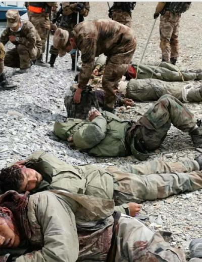 據稱是由解放軍拍下的壓制印軍照片,不過這並非是6月15日的衝突,而是日前的一次鬥毆。
