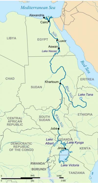 衣索比亞計劃在藍尼羅河興建非洲最大水壩,恐攔截蘇丹、埃及水源。途中東方較短分支為藍尼羅河。(Hel-hama@CYBSA3.0)
