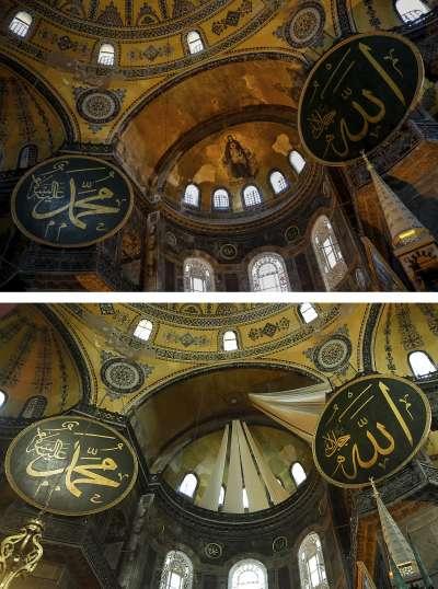 2020年7月24日,土耳其伊斯坦堡的聖索菲亞(Hagia Sophia)正式從博物館轉型為清真寺,寺方以白布住穹頂的鑲嵌畫(AP)