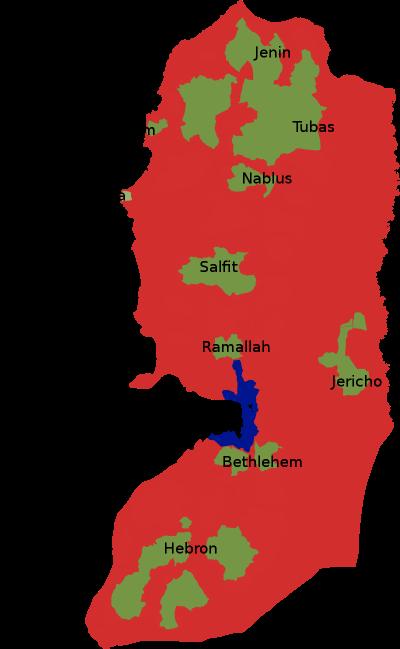 巴勒斯坦約旦河西岸,奧斯陸協議劃定的A區、B區分別為綠色、深紅色,由巴勒斯坦自治政府掌控。淺紅色C區由以色列掌控,紫色為耶路撒冷。(SoWhAt249@wikipediaBBCYSA4.0)