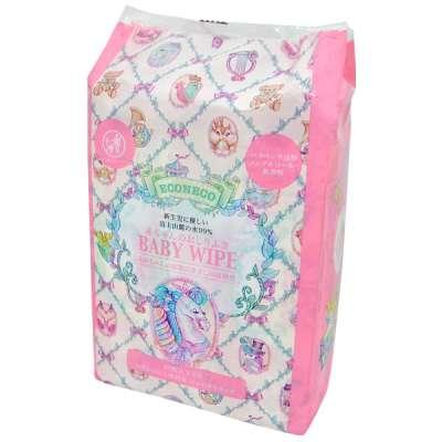 ECONECO繪子貓寶寶厚手濕紙巾,3包合售的包裝也超級夢幻。(圖/日藥本舖官網)