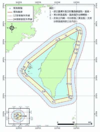 台灣領海範圍。