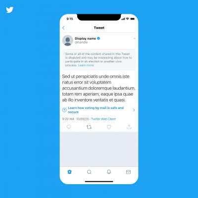 因應美國大選在即,推特新政策將標示出錯誤訊息,並禁止使用者轉發。(推特官方部落格)