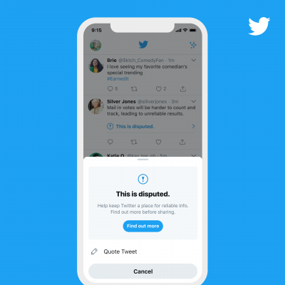 因應美國大選在即,推特新政策將標示出錯誤訊息,並禁止使用者轉發,僅能引述文字。(推特官方部落格)