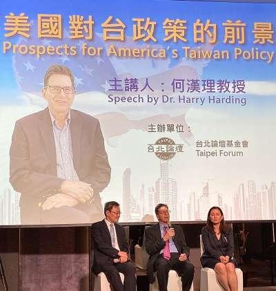 (由左至右)何漢理教授午餐演講會:台北論壇基金會董事長蘇起、美國知名中國問題專家何漢理、學者林夏如。(鍾巧庭攝)