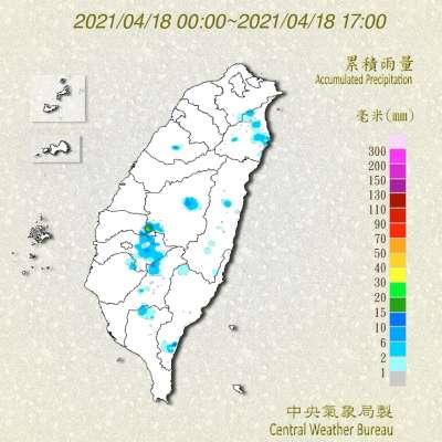 台灣今日累積雨量。(圖/氣象局提供)