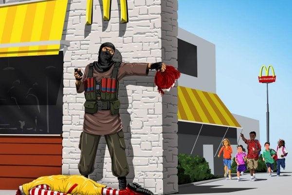 連麥當勞叔叔都斷頭...8張插畫繪出戰爭最血淋淋的事實