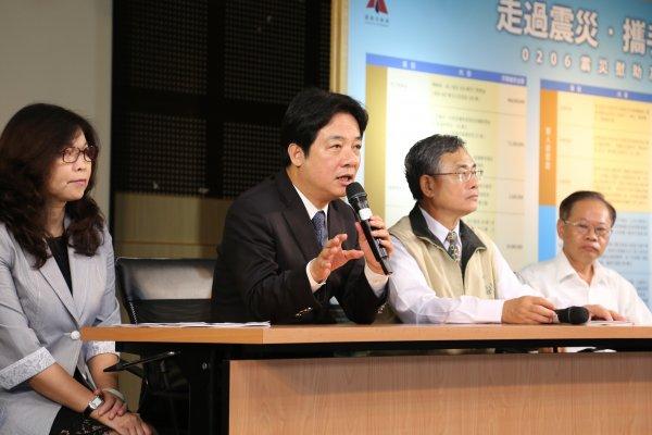 賴清德:台南地震半週年42億善款 採公開透明四大原則