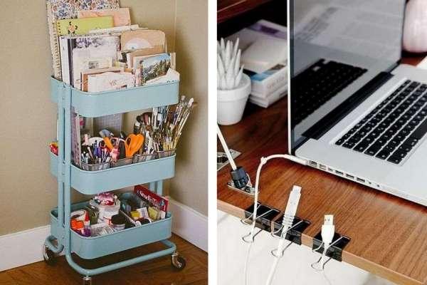 長尾夾夾桌邊,就能固定亂糟糟的充電線!讓人大開眼界的內行書桌收納術,招招厲害
