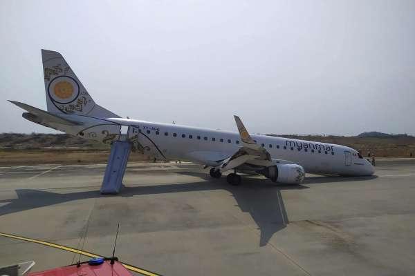 緬甸航空驚險迫降》飛機前方起落架故障 機師僅靠後輪、機鼻刮地著陸成功