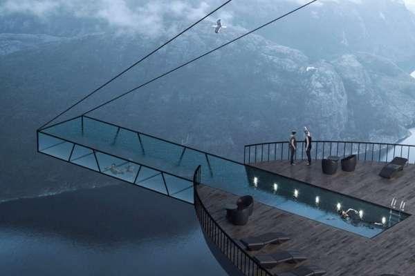 只用兩條鋼索吊住!挪威高空透明泳池,挑戰人類心臟極限!
