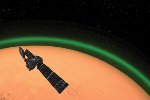 就是那道光!歐洲太空總署:「紅色星球」火星大氣層發出綠光,但與地球極光不同