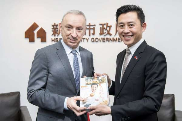 法國在台協會主任公孫孟拜會新竹市長林智堅  驚豔台灣防疫成果、希望與竹市產業交流