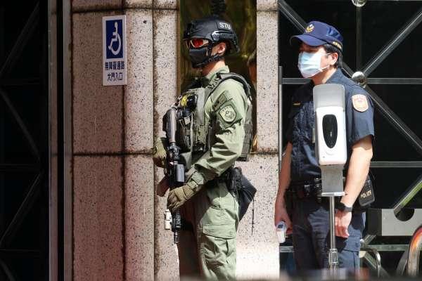 蘇貞昌出席掃黑緝毒記者會 大門特警步槍大有來頭