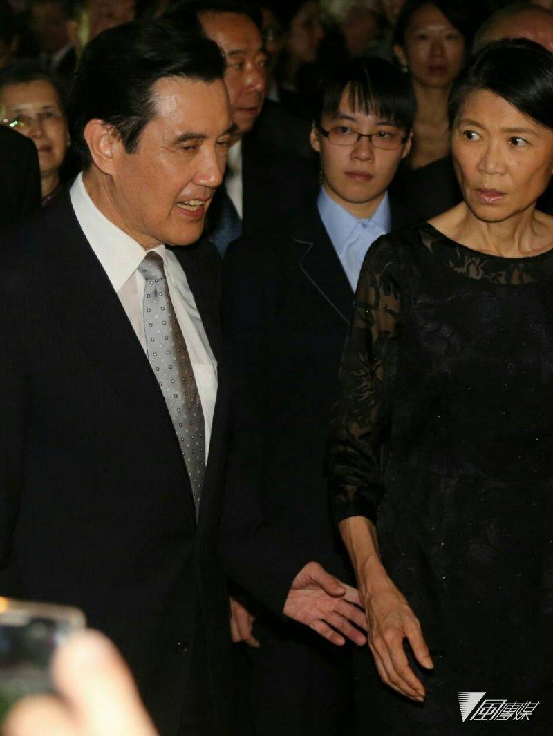馬英九總統與夫人周美青出席在台北賓館舉辦的「中華民國104年國慶酒會」。(陳明仁攝)