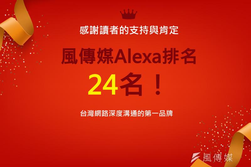風傳媒突破Alexa 24名,感謝讀者長久的支持與肯定(圖片來源:風傳媒)
