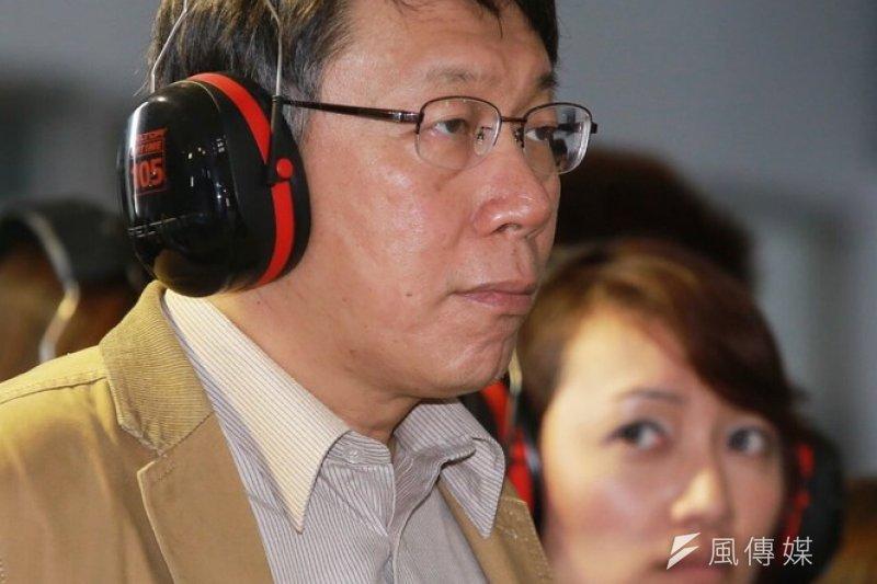 台北市長柯文哲10日上午視察建國抽水站演練。(林韶安攝)