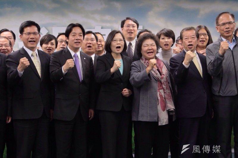 民進黨中執會15日正式提名黨主席蔡英文出戰2016,現場洋溢必勝氣氛。(楊子磊攝)