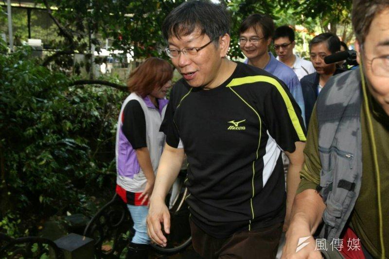 台北市長柯文哲19日上午參加「2015萬人淨山健行活動」。(吳逸驊攝)