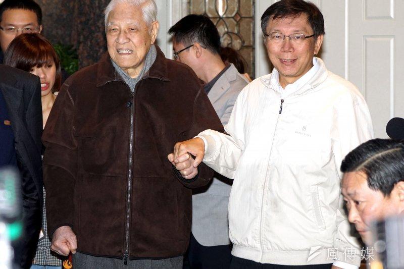 前總統李登輝受邀到許遠東金融論壇發表演說,特別提醒台北市長柯文哲要小心身體。(資料照片,蘇仲泓攝)