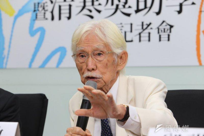 「新台灣國策智庫」2日舉行「日本新安保法與台灣安全」記者會,智庫創辦人辜寬敏出席。(資料照片,吳逸驊攝)