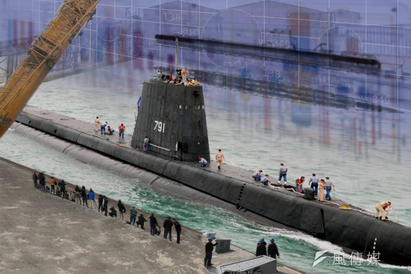 海軍認為艦尾段艦殼環切工法並不是問題,但經過1年來的勘評確定無法進行後,決定先進行「海獅」潛艦的深度大修。(影像合成:風傳媒)