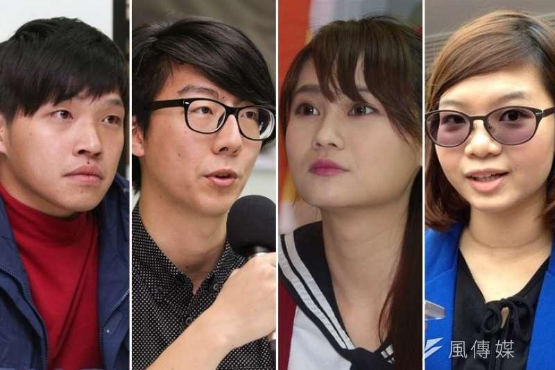 許多318青年紛紛投入2016的大選,助在野勢力一臂之力。左起為陳為廷、吳崢、賴品妤與黃郁芬。(資料照,余志偉、林韶安、王立柔攝)