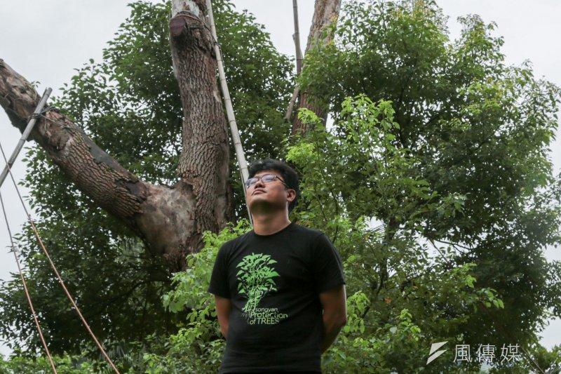 為了「抗戰破蛋、歸還森林」,護樹領袖游藝與台北市府及遠雄展開對抗,為此賣了1間房子,至今訴訟仍在持續中。(余志偉攝)