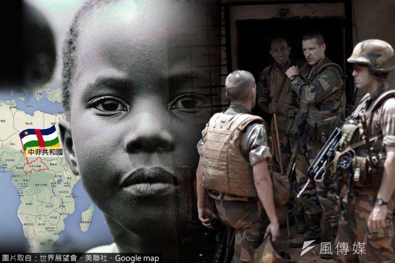 中非共和國爆發軍隊性侵兒童事件。(照片:世界展望會、美聯社,製圖:風傳媒)