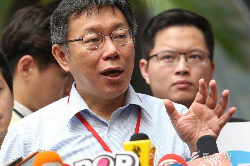 台北市長柯文哲22日表示,將由民間團體監督市府官員表現。(資料照片,吳逸驊攝)