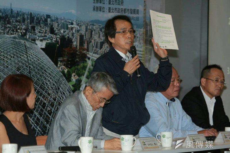 台北市政府舉辦「大巨蛋園區防災避難安全研討會」,副市長林欽榮(中)做出結論,北市府提出的7項安檢基準將送至內政部營建署參考。(余志偉攝)