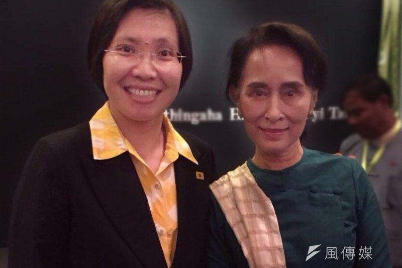 民國黨黨主席徐欣瑩拜訪翁山蘇姬。(取自民國黨臉書)