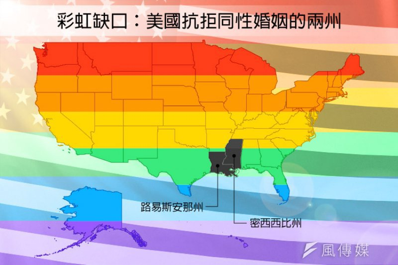 美國路易斯安那州與密西西比州仍然抗拒同性婚合法。(風傳媒製圖)