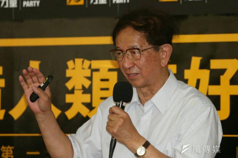 新政黨時代力量28日在台大法學院舉辦首波政見發表會,中研院前院長李遠哲到場助講。(吳逸驊攝)