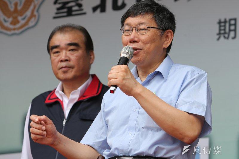 台北市長柯文哲今日出席行動派出所活動時,為和信醫院緩頰。(吳逸驊攝)
