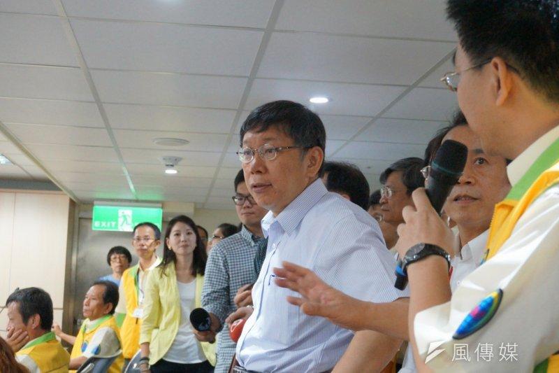 台北市長柯文哲1日參加「台北市道路管線暨資訊中心」揭牌儀式。(王彥喬攝)