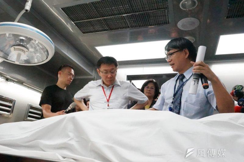 台北市長柯文哲6日參加「台北市相驗暨解剖中心」啟用典禮。(王彥喬攝)